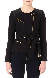 MICHAEL KORS Leather-panelled moto jacket