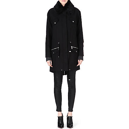 MICHAEL KORS Faux fur-collar parka (Black