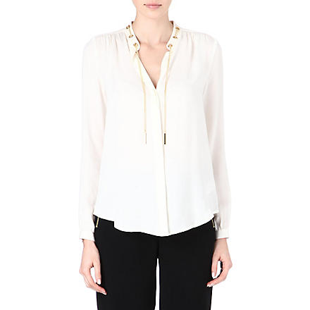MICHAEL KORS Solid silk long-sleeve shirt (Cream