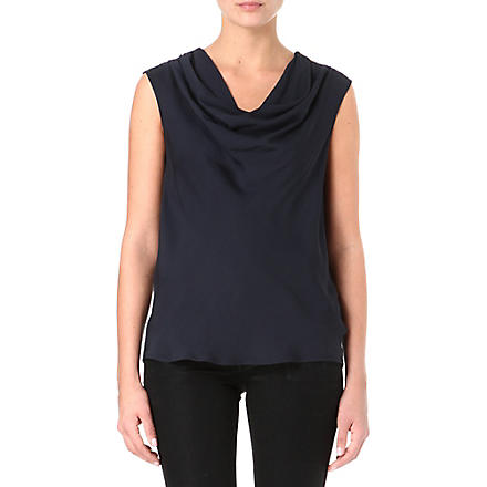 MICHAEL KORS Cowl neck silk-crepe top (Midnight
