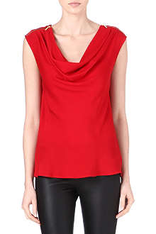 MICHAEL KORS Zipped-shoulder silk top