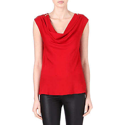 MICHAEL KORS Zipped-shoulder silk top (Red