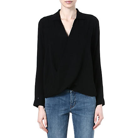 MICHAEL KORS Drape-front silk blouse (Black