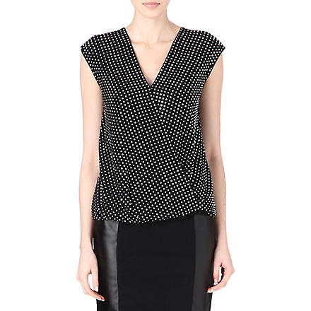 MICHAEL KORS Embellished wrap top (Black/silver
