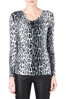MICHAEL KORS Cheetah cowl-neck top