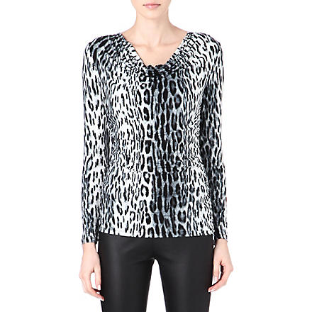 MICHAEL KORS Cheetah cowl-neck top (Black
