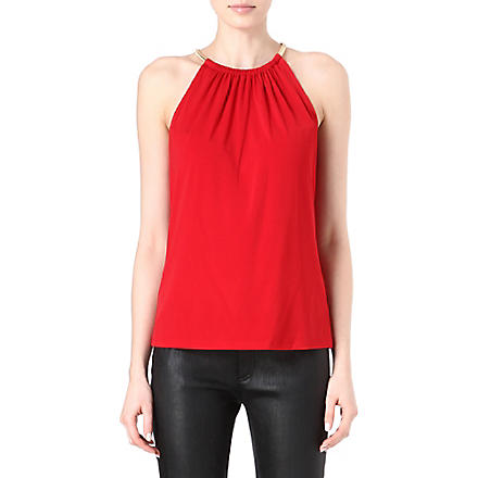 MICHAEL KORS Snake-chain halterneck top (Red