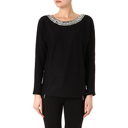 MICHAEL KORS Embellished knitted jumper (Black