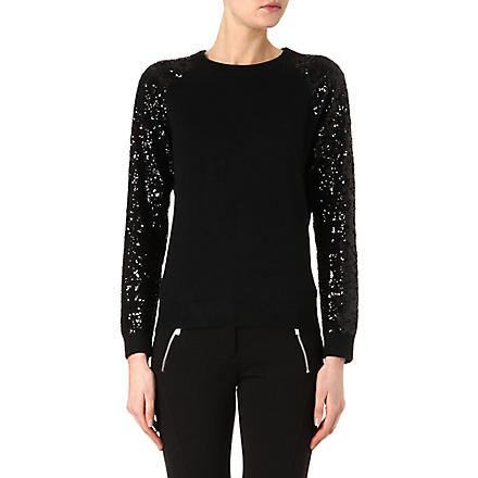 MICHAEL KORS Sequin-sleeved jumper (Black