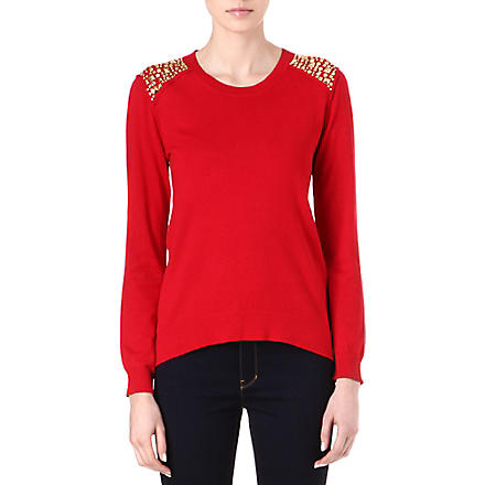 MICHAEL KORS Stud-embellished jumper (Red