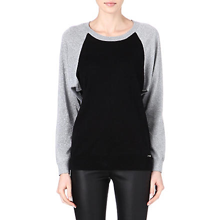 MICHAEL KORS Raglan lurex-sleeve jumper (Black
