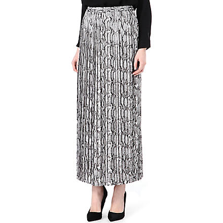 MICHAEL KORS Snake-print pleated skirt (Black