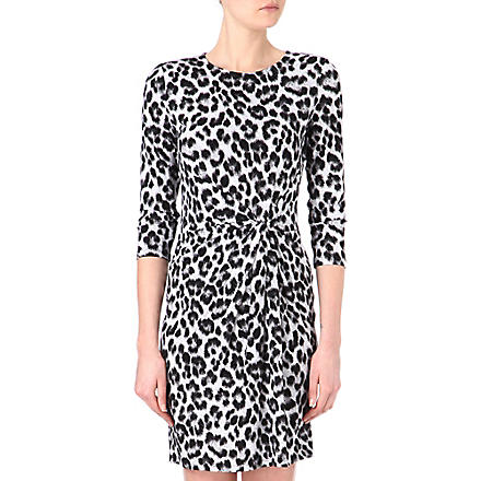 MICHAEL KORS Cheetah twist-jersey dress (Black