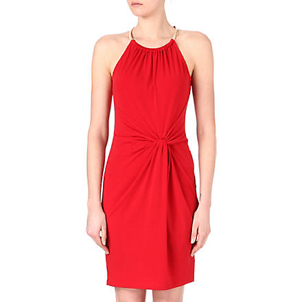 MICHAEL KORS Snake chain halter dress (Red