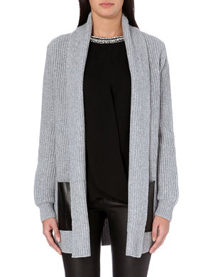 MICHAEL MICHAEL KORS Leather-detail wool and cashmere-blend cardigan
