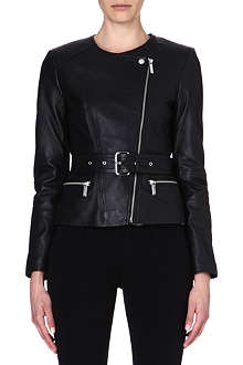 MICHAEL KORS Leather belted jacket