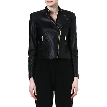 MICHAEL KORS Leather moto jacket (Black