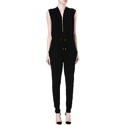 MICHAEL KORS Draped jersey jumpsuit (Black / gold