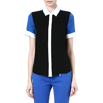 MICHAEL KORS Colour-blocked silk shirt (Black