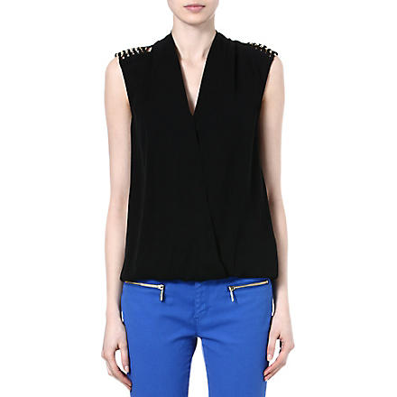 MICHAEL KORS Chain-shoulder silk top (Black