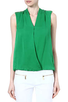 MICHAEL KORS Chain-shoulder silk top