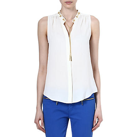 MICHAEL KORS Chain-detailed silk top (Cream