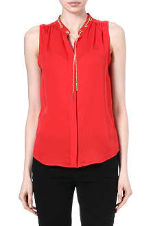 MICHAEL KORS Chain-detailed silk top