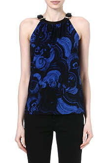 MICHAEL KORS Buckle-neckline top