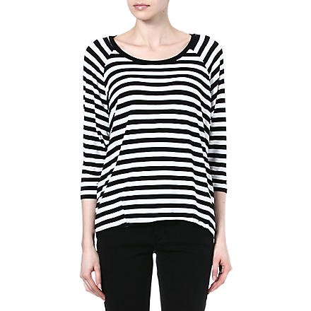 MICHAEL KORS Striped jersey top (White