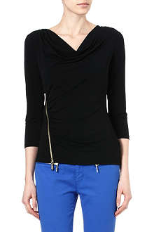 MICHAEL KORS Zip-detail jersey top