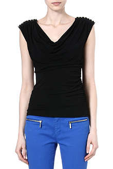 MICHAEL KORS Studded-shoulder jersey top