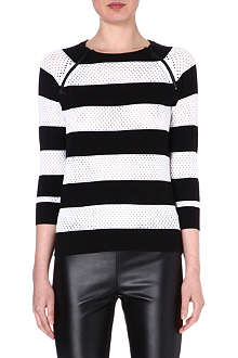MICHAEL KORS Striped zip-detailed jumper