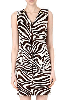 MICHAEL KORS Zebra-print zip-detail dress