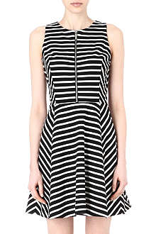 MICHAEL KORS Striped zip-detail jersey dress
