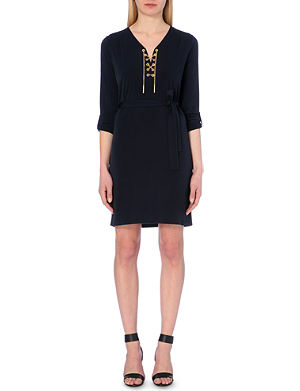 MICHAEL MICHAEL KORS Chain-detailed lace-up dress