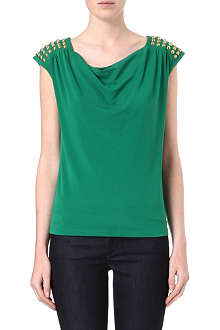 MICHAEL KORS Cowl-neck studded top