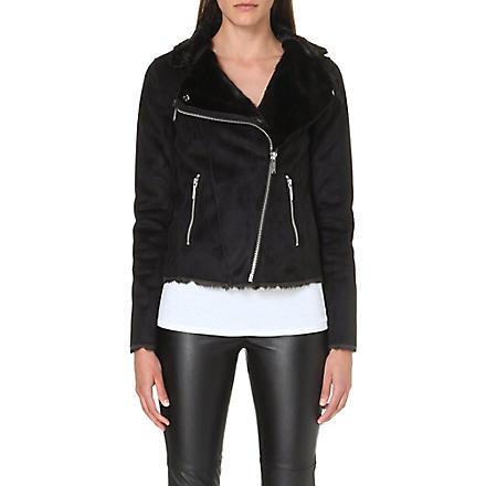 MICHAEL MICHAEL KORS Faux fur biker jacket (Black