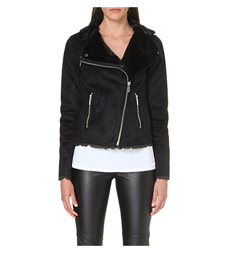MICHAEL MICHAEL KORS Faux fur biker jacket (Black