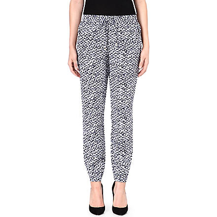 MICHAEL KORS Batik-print silk trousers (Navy