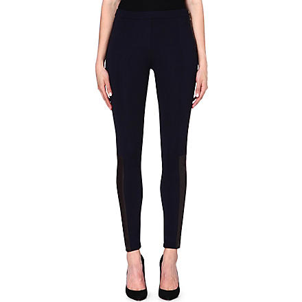 MICHAEL KORS Contrast leather panel trousers (Navy