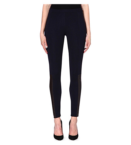 MICHAEL MICHAEL KORS Contrast leather panel trousers (Navy