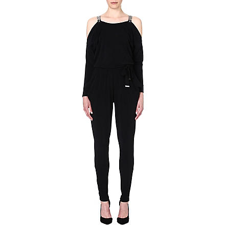 MICHAEL KORS Belted jersey jumpsuit (Black