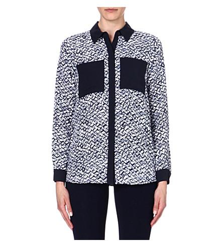 MICHAEL MICHAEL KORS Contrast silk shirt (Navy