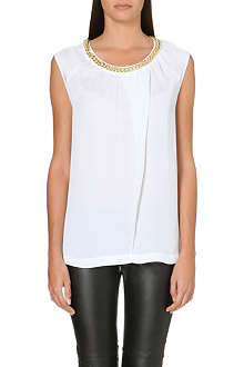MICHAEL KORS Chain-detail silk top