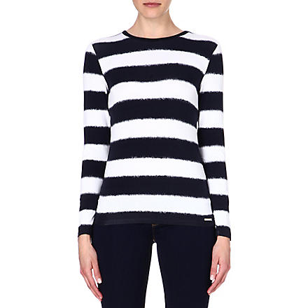 MICHAEL KORS Stripe-print jersey top (Navy