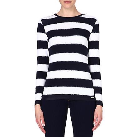 MICHAEL MICHAEL KORS Stripe-print jersey top (Navy