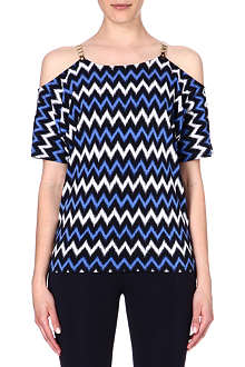 MICHAEL KORS Chevron-print jersey top