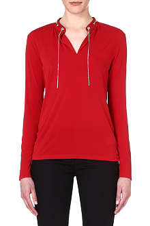 MICHAEL KORS Chain-detail stretch-crepe top