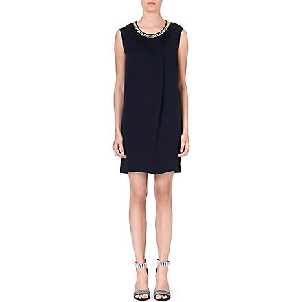 MICHAEL KORS Chain-trim silk dress (Navy