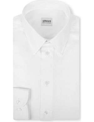 ARMANI COLLEZIONI Modern-fit cotton-poplin single-cuff shirt